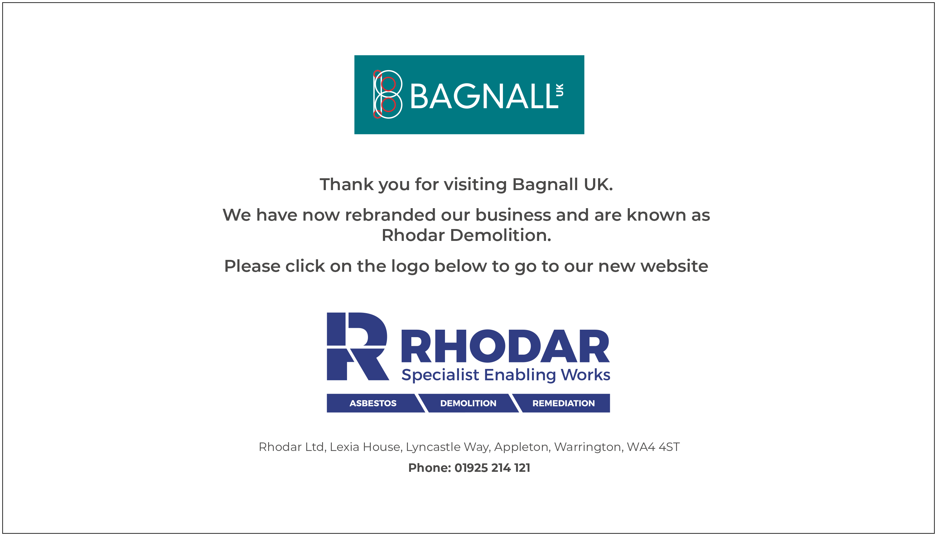 We have rebranded as Rhodar Demolition, click to visit the Rhodar website.
